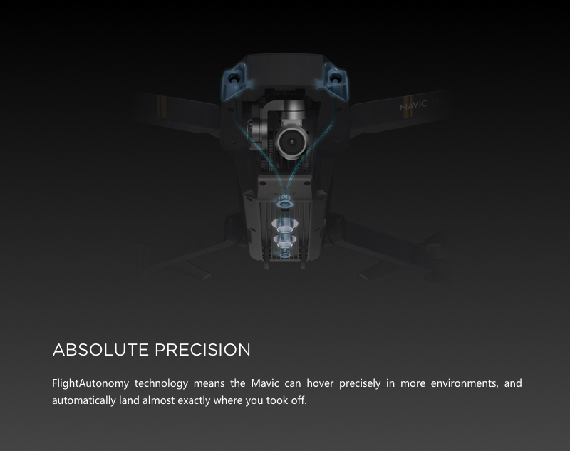 The DJI Mavic Pro drone features absolute precision through it's industry leading, FlightAutonomy technology.