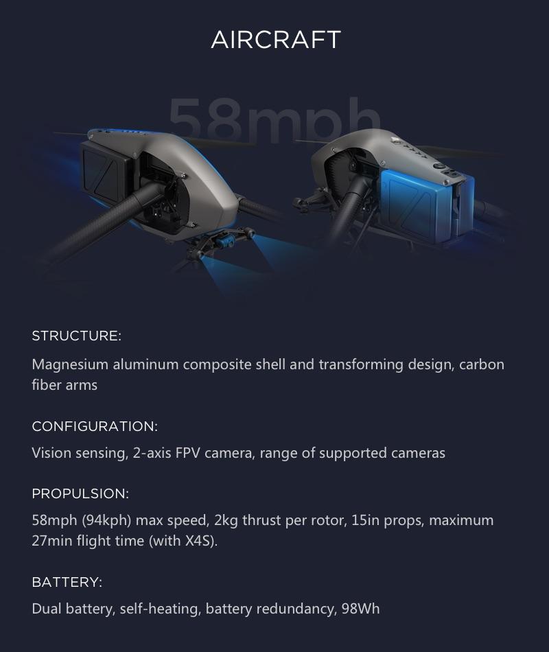 DJI Inspire 2 Premium Combo - Transforming Design, FPV Camera, Maximum Speed of 58mph, 27 minutes of flight time