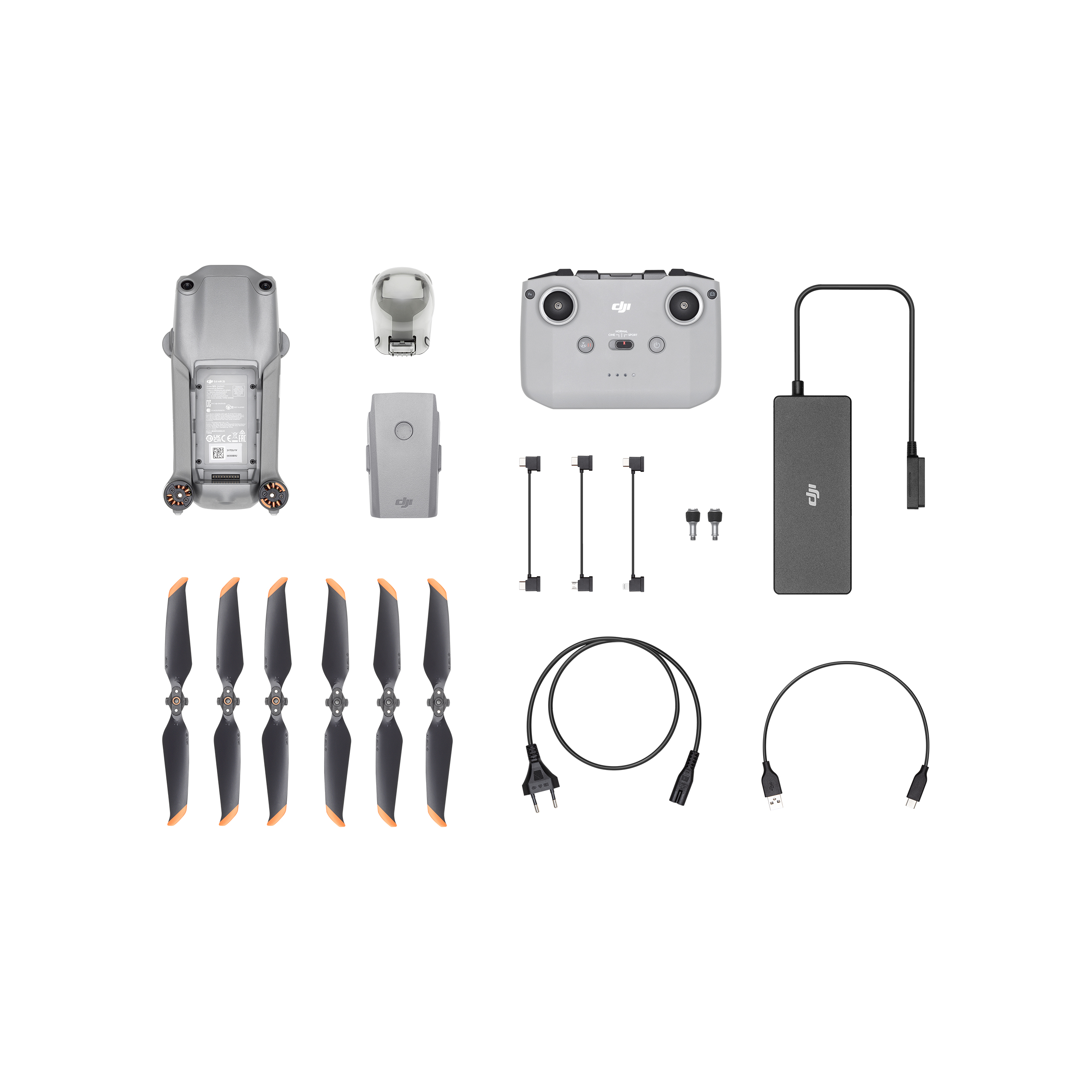 DJi Mavic Air 2 illustrating accessoires including battery, controller, power bank and propellers