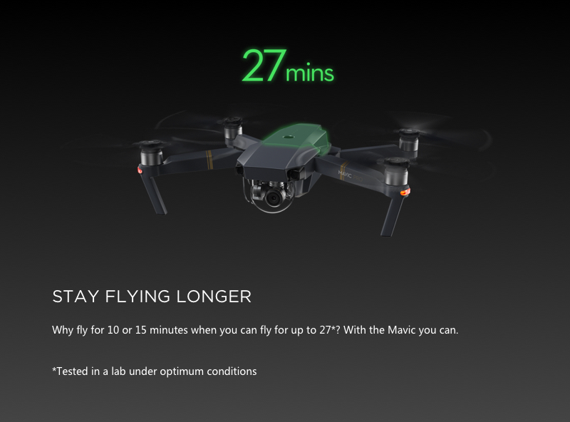 Fly longer with the extended battery life of the DJI Mavic Pro drone