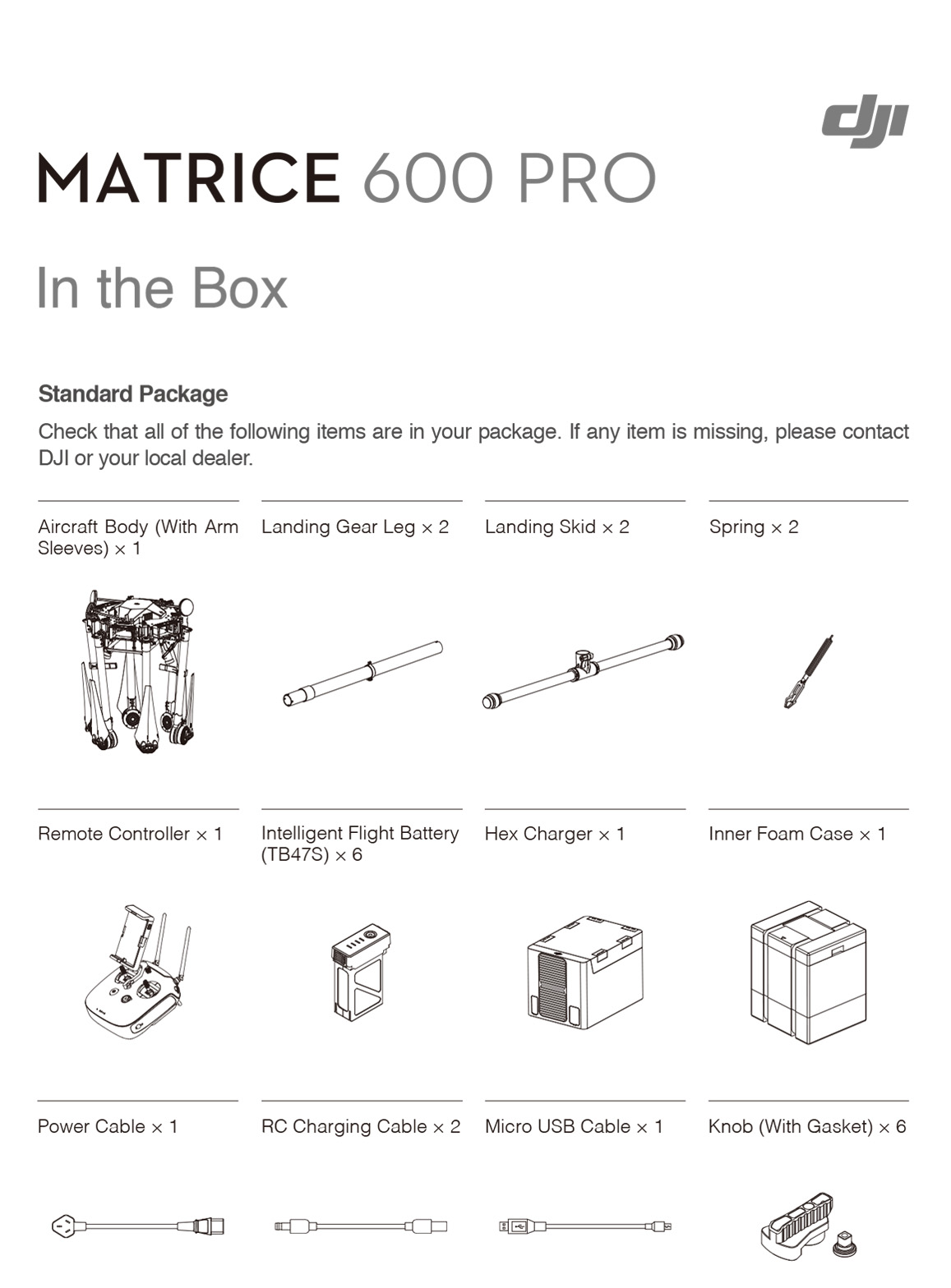 DJI Matrice 600 Pro What's Included
