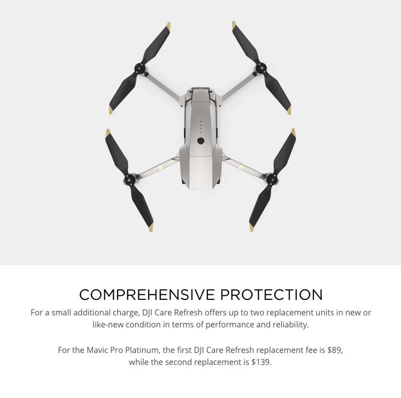 DJI Care Refresh Replacement Fees Mavic Pro Platinum