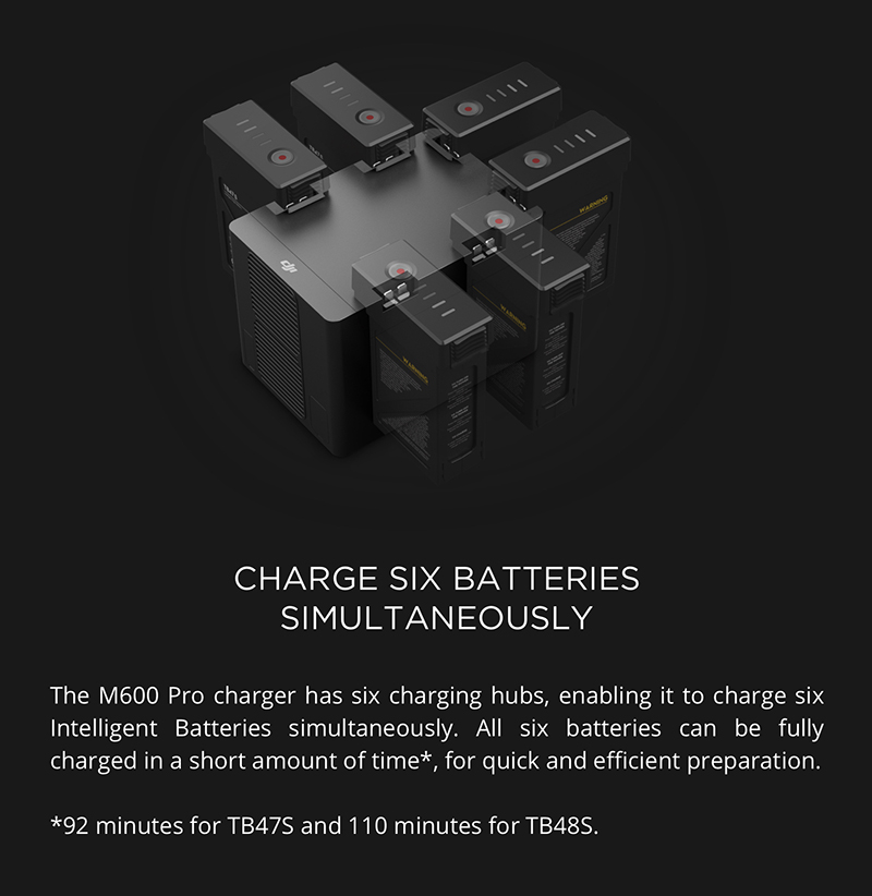 Protected DJI Matrice 600 Pro - Hex charger charges six batteries simultaneously