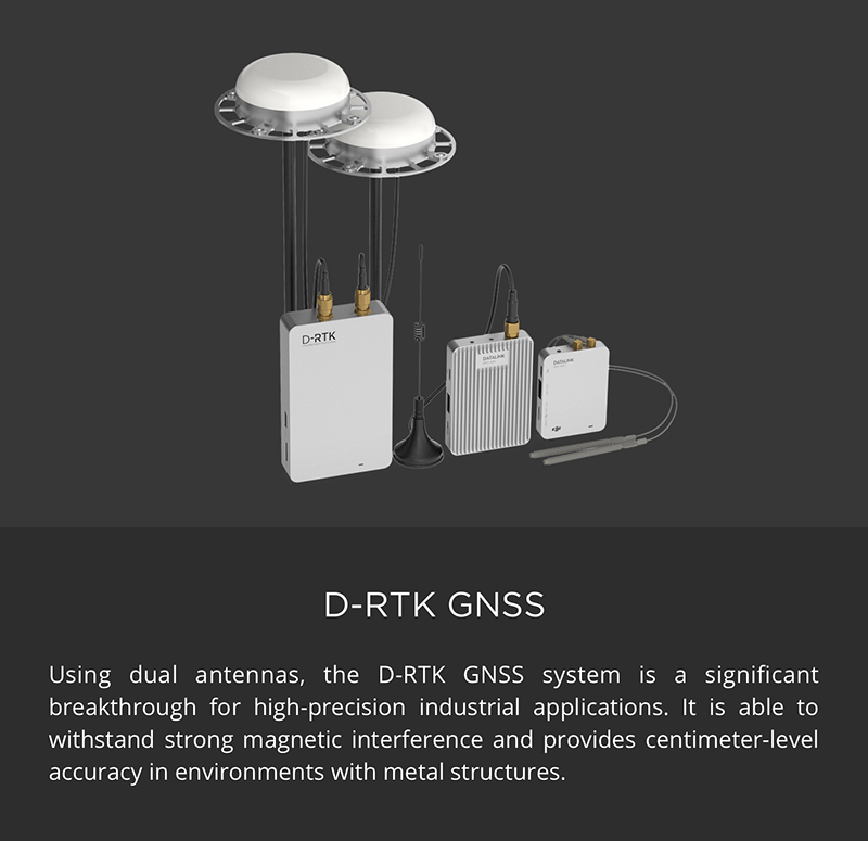 Protected DJI Matrice 600 Pro - D-RTK GNSS withstands strong magnetic interference and provides centimeter-level accuracy