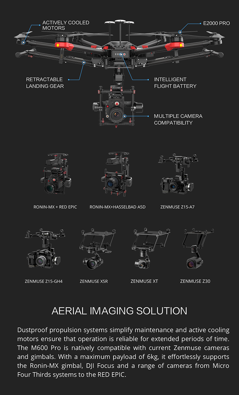 Protected DJI Matrice 600 Pro - Aerial Imaging solution with multiple professional camera compatibility