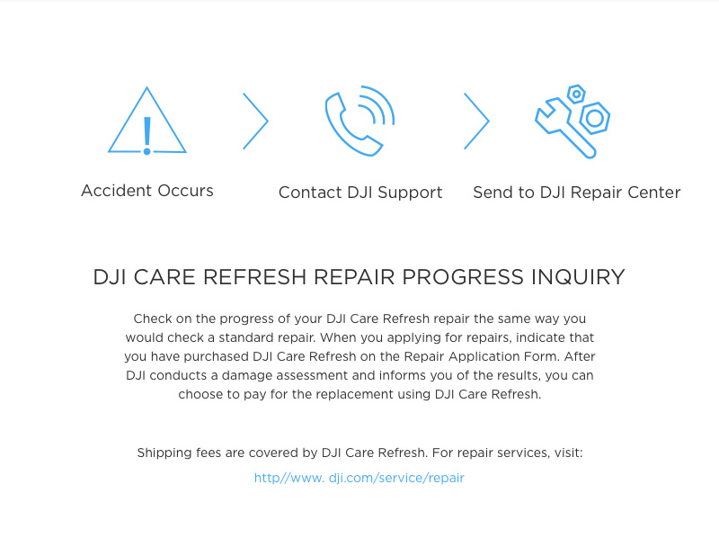 DJI Care Refresh Repair Progress