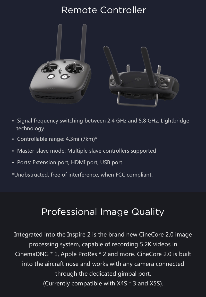 DJI Inspire 2 Remote Controller and Transmission Specs