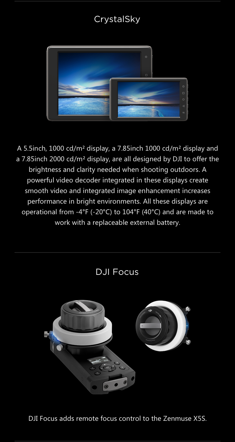DJI CrystalSky Monitor & DJI Focus for Inspire 2